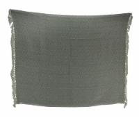 2-Tone Cotton Zig Zag Striped Fringed Throw Blanket, White/Grey - Gray - One Size