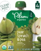Plum Organics Pear Spinach & Pea Stage 2 Baby Food 4 Count