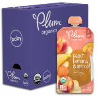 Plum Organics Peach Banana & Apricot Stage 2 Baby Food Pouches 6 Count