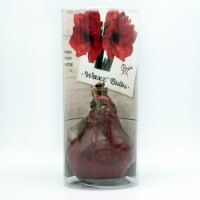 Wax Amaryllis in Plastic Sleeve - Red