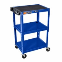 Luxor - Adjustable Height Steel A/V Cart - Three Shelves, Blue - 1 unit