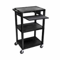 Luxor Black 42  Multipurpose A/V Cart with 3 Shelves, Pullout Shelf - 1 unit