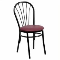 Flash Furniture Hercules Metal Dining Chair in Black and Burgundy - 1
