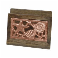 NuSteel TG-NP-01C Wooden Napkin Holder with Burnt Wood & Copper