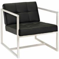 Hover Upholstered Vinyl Lounge Chair - Black - 1