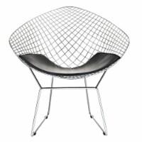 CAD Upholstered Vinyl Lounge Chair - Black - 1