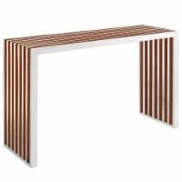 Gridiron Wood Inlay Console Table - Walnut - 1