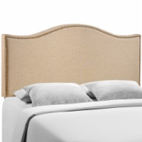 Curl Queen Nailhead Upholstered Headboard - Cafe - 1