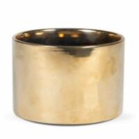 "5""H x 8""W x 8""L,  Gold  Round Ceramic Planter - 1"