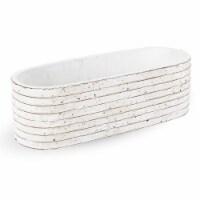 "4""H x 4""W x 12""L,  White Ceramic Planter - 1"