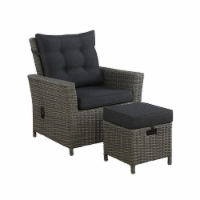 Alaterre Asti Wicker / Rattan Outdoor Recliner and Ottoman with Cushion in Gray
