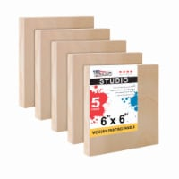 """6  x 6  Birch Wood Paint Pouring Panel Boards, Studio Series, 3/4  Deep Cradle -5 Pack - 6"""" x 6"""" - 5-Pack"""