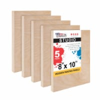 """8  x 10  Birch Wood Paint Pouring Panel Boards, Studio Series, 3/4  Deep Cradle -5 Pack - 8"""" x 10"""" - 5-Pack"""