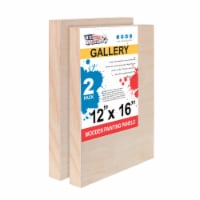 """12  x 16  Birch Wood Paint Pouring Panel Boards, Gallery Series, 1-1/2  Deep Cradle -2 Pack - 12"""" x 16"""" - 2-Pack"""