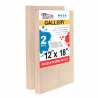 """12  x 18  Birch Wood Paint Pouring Panel Boards, Gallery Series, 1-1/2  Deep Cradle -2 Pack - 12"""" x 18"""" - 2-Pack"""