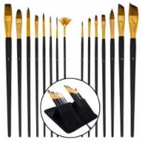 15 Piece Artist Long Handle Paint Brush Set in Zippered Nylon Pop-Up Travel Storage Case - 15 Piece Brush Set
