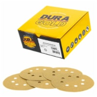 100 Grit - 5  Gold DA Sanding Discs - 8-Hole Pattern Hook and Loop - Box of 50 - 100 Grit - Box of 50