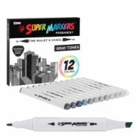 12 Color Gray Tones Dual Tip Set - Fine Bullet & Chisel Point Art Markers, Ergonomic Barrels - 12 Gray Marker Set