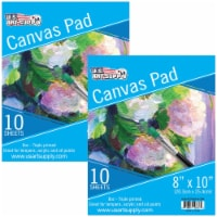 """8  x 10  10-Sheet 8-Ounce Triple Primed Acid-Free Canvas Paper Pad (Pack of 2 Pads) - 8"""" x 10"""" - 2 Pads"""