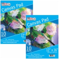 """12  x 16  10-Sheet 8-Ounce Triple Primed Acid-Free Canvas Paper Pad (Pack of 2 Pads) - 12"""" x 16"""" - 2 Pads"""