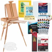 57-Piece Watercolor Painting Kit with French Easel, Watercolor Paint, Canvas, Paper, Brushes - 57 Piece Watercolor Set