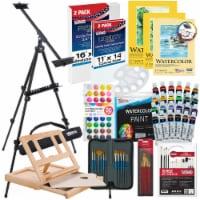 70-Piece Watercolor Paint Set with Aluminum Easel, Wood Easel, Watercolor Paint, Paper Pads - 70 Piece Watercolor Set