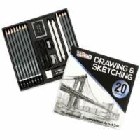 20 Piece Artist Sketch Set with Storage Case - Sketch & Charcoal Pencils, Pastel, & Stumps - 20 Piece Sketch Set