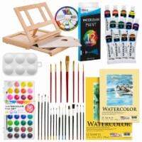 42-Piece Watercolor Painting Set - Wood Easel, Watercolor Paints, Paper Pads, & Accessories - 42 Piece Watercolor Set