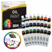 24 Color Set of Art Oil Paint in 12ml Tubes - Rich Vivid Colors for Artists, Students - 24 Oil Set - 12ml Tubes