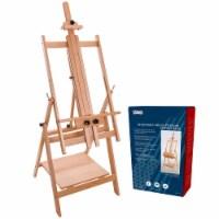 Large Adjustable H-Frame Studio Artist Wooden Floor Easel - Tilts Flat, Adjusts to 88  High - Easel