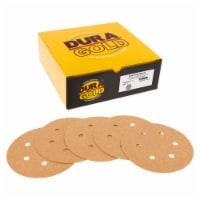60 Grit - 6  Gold Hook & Loop 6-Hole Pattern Sanding Discs for DA Sanders - Box of 24 - 60 Grit - Box of 24