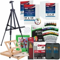 72 Piece Deluxe Acrylic Painting Set with Aluminum Floor Easel, Paint, Canvas & Accessories - 72 Piece Acrylic Set