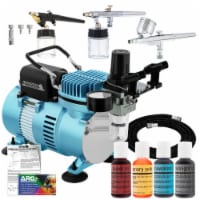 Dual Fan Air Compressor Cake Decorating System Kit with 3 Airbrushes, 4 Food Coloring Set - Bundle