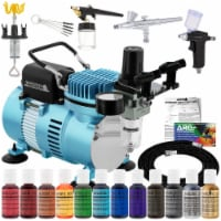 Dual Fan Air Compressor Pro Cake Decorating System Kit - 3 Airbrushes, 12 Food Coloring Set - Bundle