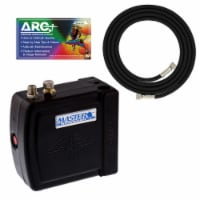 Master C16-B - Black Mini Airbrush Air Compressor with 6 Foot Braided Air Hose with 1/8 in. - Compressor
