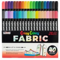 40 Primary & Pastel Colors Dual Tip Fabric & T-Shirt Marker Set - Chisel and Fine Point Tips - 40 Marker Set