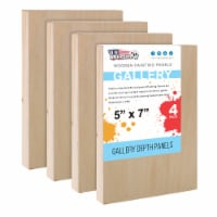 """5  x 7  Birch Wood Paint Pouring Panel Boards, Gallery Series, 1-1/2  Deep Cradle -4 Pack - 5"""" x 7"""" - 4-Pack"""