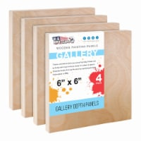 """6  x 6  Birch Wood Paint Pouring Panel Boards, Gallery Series, 1-1/2  Deep Cradle -4 Pack - 6"""" x 6"""" - 4-Pack"""