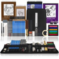 54-Piece Drawing & Sketching Art Set with 4 Sketch Pads - Graphite, Charcoal Pencils & Sticks - 54-Piece Drawing Set