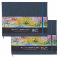 """9  x 12  Linen-Bound Watercolor Paper Book, 76 Sheets, 110 lb - Cold-Pressed - 2 Pack - 9"""" x 12"""" - 2 Pack"""