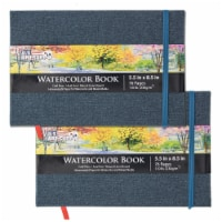 """5.5  x 8.5  Linen-Bound Watercolor Sketchbook, 76 Sheets, 110 lb- Cold-Pressed - 2 Pack - 5.5"""" x 8.5"""" - 2 Pack"""