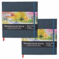 """8.5  x 8.5  Linen-Bound Watercolor Sketchbook, 76 Sheets, 110 lb - Cold-Pressed - 2 Pack - 8.5"""" x 8.5"""" - 2 Pack"""