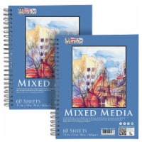 """11  x 14  Mixed Media Paper Pad Sketchbook, 2 Pack, 60 Sheets, 98 lb (160 gsm) - Spiral-Bound - 11"""" x 14"""" - 2 Pack"""
