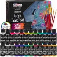 24 Color Acrylic Fabric Paint in 2 Ounce Bottles and 7 Brushes - For Clothes, Jeans, Shoes - 24 Colors - 2 oz. Bottles