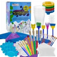 40-Piece Children's Art Painting Supplies and Accessories Kit - Brushes, Cups, Palettes - 40-Piece Art Supplies
