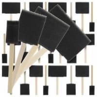 Variety Pack Foam Sponge Wood Handle Paint Brush Set (40 Brushes) - Lightweight, Durable - Brush Set - 40 Pack