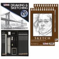 20-Piece Artist Sketch Set with Storage Case - Sketch & Charcoal Pencils, Stumps & Paper Pads - 20 Piece Sketch Set