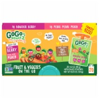 GoGo Squeez Fruit & Veggies Boulder Berry & Pedal Pedal Peach On The Go Variety Pack - 20 ct / 3.2 oz