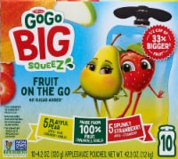 GoGo Squeez Big Squeez Playful Pear and Spunky Strawberry Applesauce Pouches