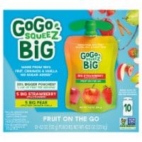 GoGo SqueeZ Big SqueeZ Pear & Strawberry Applesauce Pouches - 10 ct / 4.2 oz